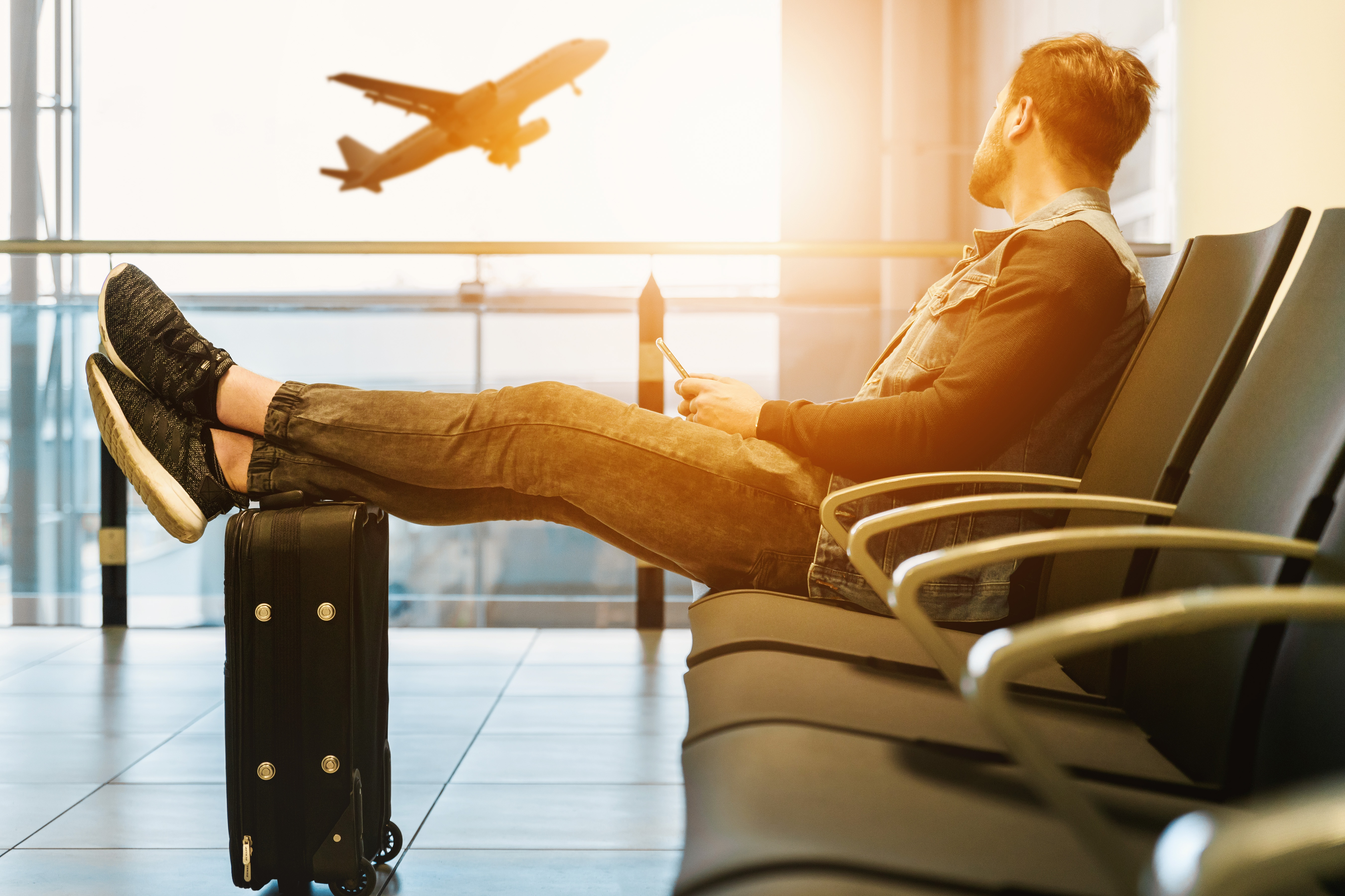 man delayed in waiting area while flight leaving
